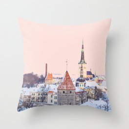 Winter City Morning Throw Pillow