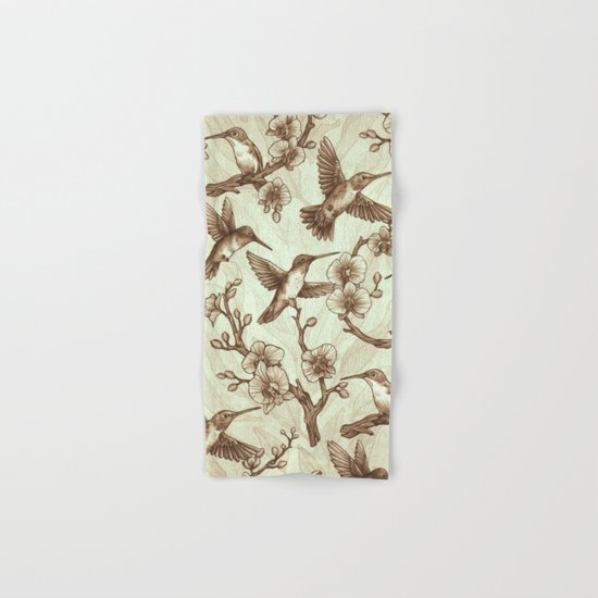 Sepia Hummingbird Pattern Hand & Bath Towel