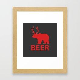 DEER & BEAR = BEER Framed Art Print