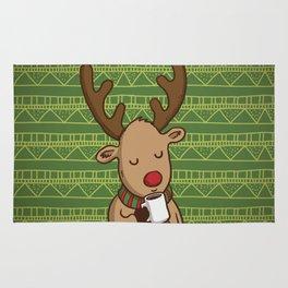 Christmas Deer Enjoying with Coffee Rug