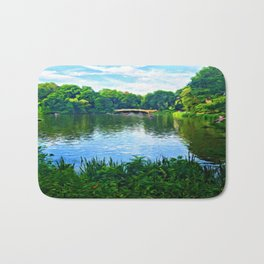 Central Park Bridge Over Peaceful Waters Bath Mat