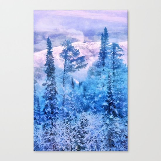 Winter forest in mountains Canvas Print