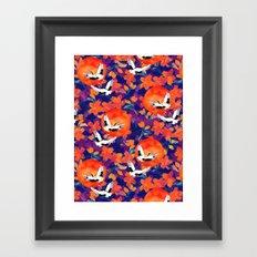 Japanese Garden: Cranes, Sun and Blossoms DK Framed Art Print