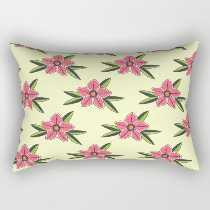 Hand Drawn Old School Tattoo Flower - Light Yellow Rectangular Pillow
