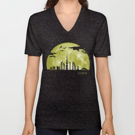 DUBAI Moon Light Night Stars Skyline  Unisex V-Neck