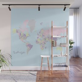 Pastels world map, highly detailed, The world is your oyster, square Wall Mural