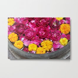 Roses and yellow Flowers Metal Print