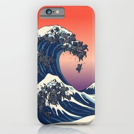 The Great Wave of Black Pug iPhone Case