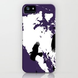 Odin Portrait and Silhouette of Ravens Vector Art iPhone Case