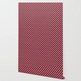 Burgundy Red and White Polka Dot Pattern Wallpaper