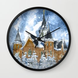 Provo City Center LDS Temple in Winter watercolor Wall Clock