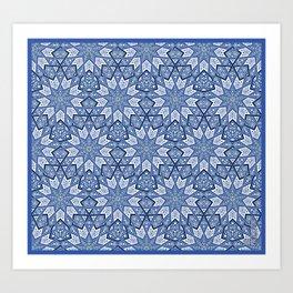Nine Fold pattern blue Art Print