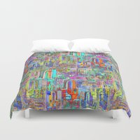 greek Duvet Covers featuring GREEK PARADISE by S CHANTRAINE