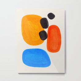 Minimalist Modern Mid Century Colorful Abstract Shapes Primary Colors Yellow Orange Blue Bubbles Metal Print