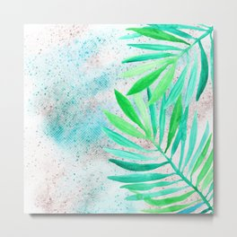 green teal sparkle glittter Metal Print