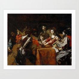 Valentin de Boulogne - The Concert - Renaissance Fine Art Retro Vintage Oil Painting Art Print
