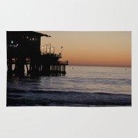 santa monica Area & Throw Rugs featuring Santa Monica Beach Life by Amy J Smith Photography