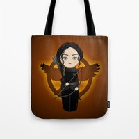 katniss Tote Bags featuring Kokeshi Katniss by Pendientera