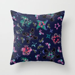 Exploding Stars and Flowers Throw Pillow