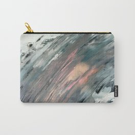 Frost: a minimal, abstract mixed media piece in white, blue, gold, and pinks Carry-All Pouch