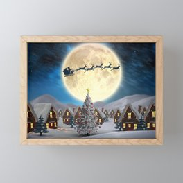 Christmas village night - Amazing cute christmas santa's sleigh goes through fantastic winter small town. Framed Mini Art Print