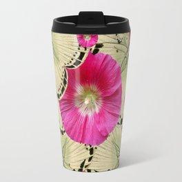 BLACK PATTERN BUTTERFLIES PINK HOLLYHOCKS ART Travel Mug