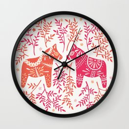Swedish Dala Horses – Melon Palette Wall Clock