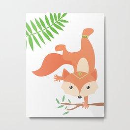 Little Yogi Fox Metal Print
