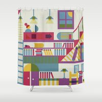library Shower Curtains featuring Summertime's library by sansanfab