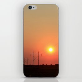 Kansas Sunset with Power Line and Poles Silhouettes iPhone Skin