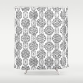 Gray white Damask ornament . Shower Curtain
