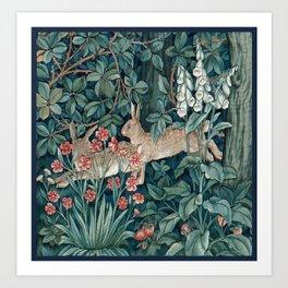 William Morris Forest Rabbits and Foxglove Art Print