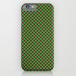 Christmas Holly Green, Red and Black and Argyle Tartan Plaid with Crossed White Lines iPhone Case