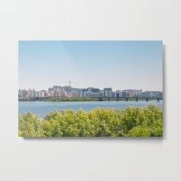 Seoul city and Han river Metal Print