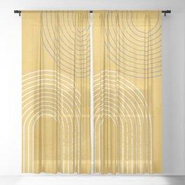 Golden Minimalist Abstract Sheer Curtain