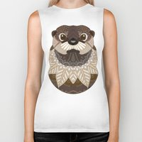 otters Biker Tanks featuring Ornate Otter by ArtLovePassion