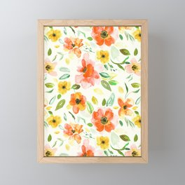 Warm Autumnal Floral Pattern Framed Mini Art Print