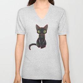 Black Cat Glow Unisex V-Neck