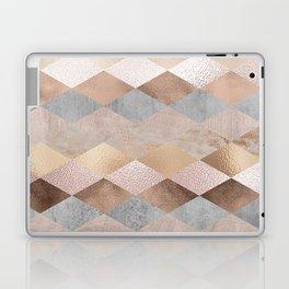Copper and Blush Rose Gold Marble Argyle Laptop & iPad Skin