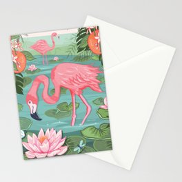 Flamingo and Waterlily Stationery Cards