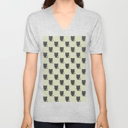 Black panther with grey background repeat pattern Unisex V-Neck