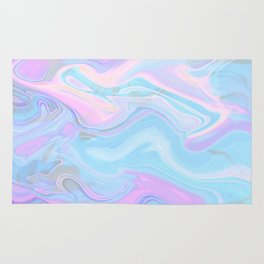 Sea Marble Candy Pattern - Violet, Aqua and Blue Rug