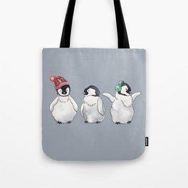 Holiday Penguin Trio Tote Bag