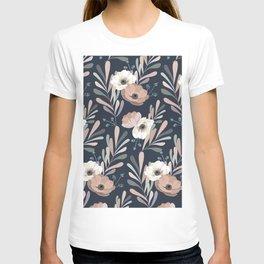 Anemones & Olives blue T-shirt