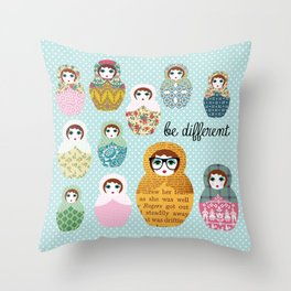 Be different russian dolls collage Throw Pillow