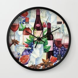 Watercolor wine glasses and bottles decorated with delicious food Wall Clock