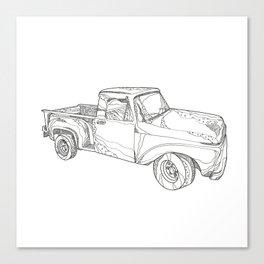 Vintage Pickup Truck Doodle Art Canvas Print