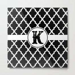 Black Monogram: Letter K Metal Print