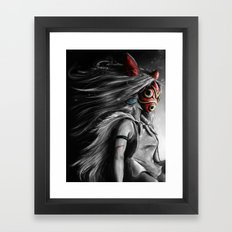 Miyazaki's Mononoke Hime Digital Painting the Wolf Princess Warrior Color Variation Framed Art Print