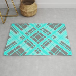 Turquoise and Grey Plaid Digital Chalk Pattern Rug